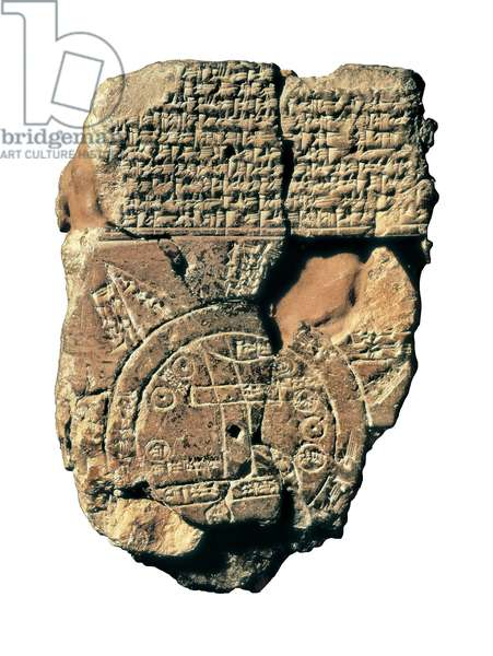 Worldmap engraved on a stone with cuneiform characters representing in the centre the city of Babylon. its dated from the time of Sargon of Akkad or Sargon the Old founder of the Empire Akkad. 2334-2284 BC