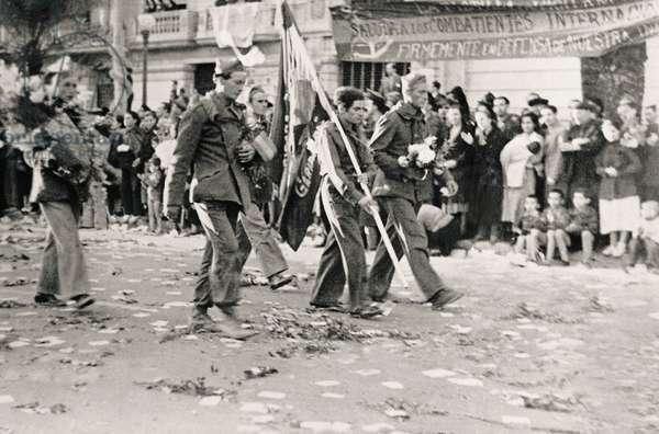 Spanish Civil War (1936-1939): a farewell of the international brigades in Barcelona, October 1938 (b/w photo)