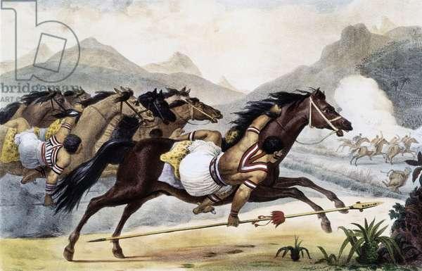 Guaycuru Indians on horseback, form Picturesque and Historic Voyage to Brazil, Brazil, 1834 (illustration)