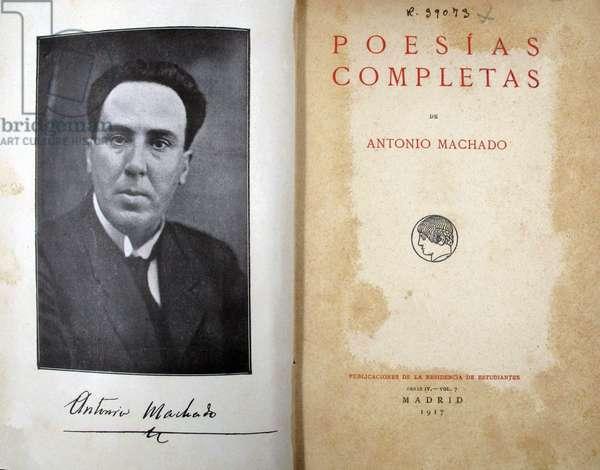 Poesias Completas by Antonio Machado, 1917 (manuscript and photo)