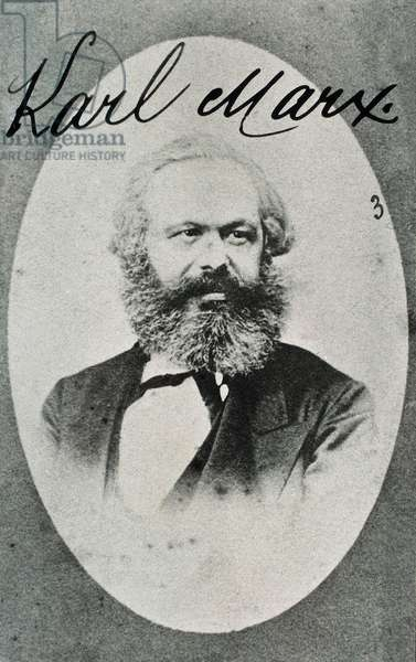 Portrait of German philosopher and economist Karl Marx (1818-1883). Photograph. Montreuil. Museum of Living History.