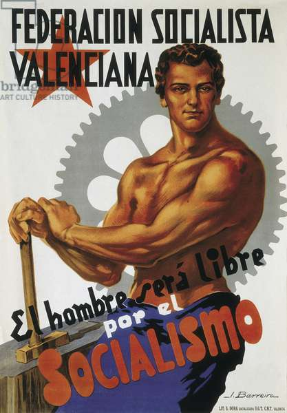 "Propaganda poster of the Spanish Civil War (1936-1939). ""Dereacion socialista Valenciana. El hombre sera libre par el socialismo """" (Socialist Federation of Valencian in Spain. Man will be liberated by socialism) National Historical Archives of Salamanca."