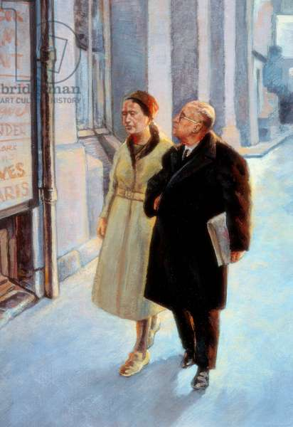 Writers and philosophers Jean Paul Sartre (1905-1980) and Simone de Beauvoir (1908-1986) walking (painting)