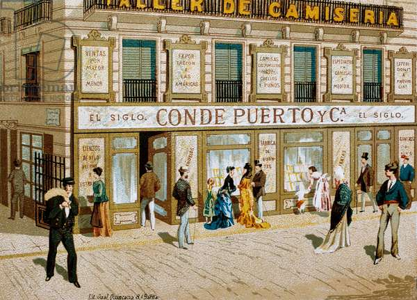 """Fashion: advertising poster for the fabric shop """""""" Conde Puerto """""""" boutique Barcelona. 19th century"""