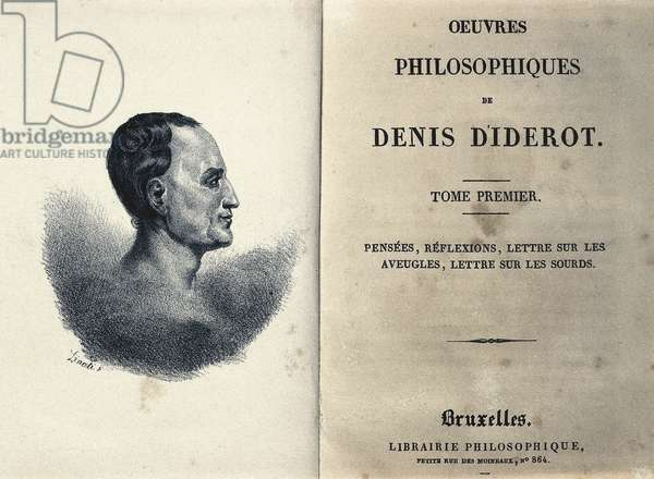 """Frontispiece of """"Philosophical Works"""" by the French philosopher Denis Diderot (1713-1784), 1819 (engraving)"""