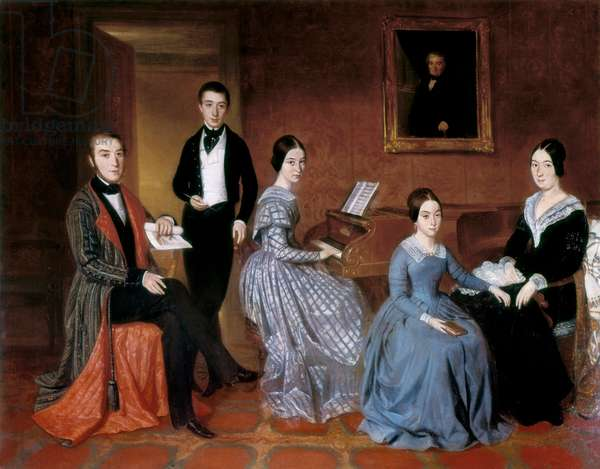 The Flaquer family. Painting by Joaquin Espalter y Rull (1809-1880). Oil on canvas, 1845, Spanish school, romantic art. Museum of Romanticism, Madrid (Spain).