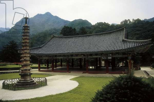 Octagonal stone pagoda and a pavilion of the Pohyon Temple in Myohyang, North Korea, built 1042 (photo)