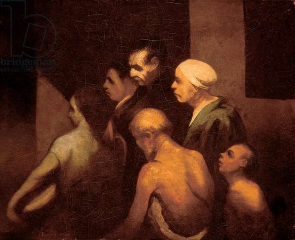 """""""The beggars"""" Painting by Honore Daumier (1808-1879), c.1843"""