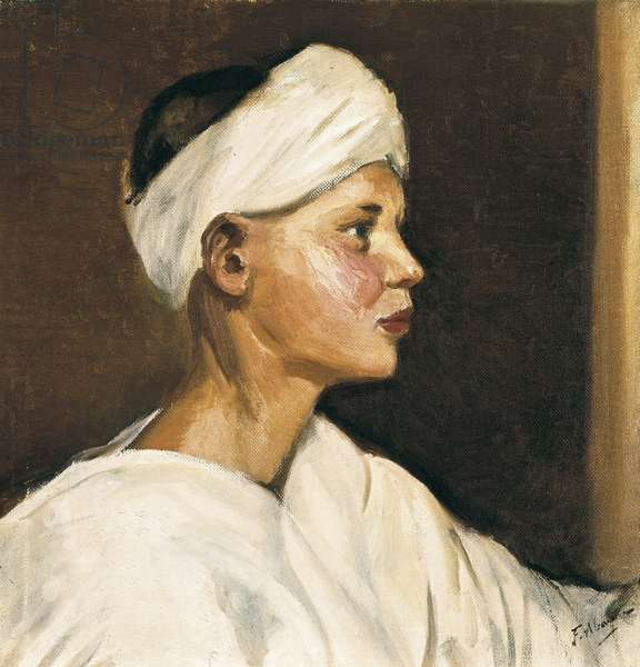 Head of a young moor (oil on canvas, first half of the 20th century)