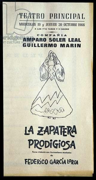 "Poster for """" La zapatera prodigiosa """" (La savetiere prodigieuse) by the Spanish poet and playwright Federico Garcia Lorca (1898-1936). Teatro Principal. 1966. Fundacion Federico Garcia Lorca. Madrid."