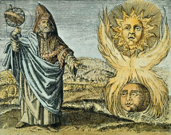 """Alchemy: The astrologer Hermes Trismegiste indicates the Sun and the Moon, from """"Viridarium chymicum"""" by Daniel Stolcius von Stolcenbeerg, 1624 (engraving)"""