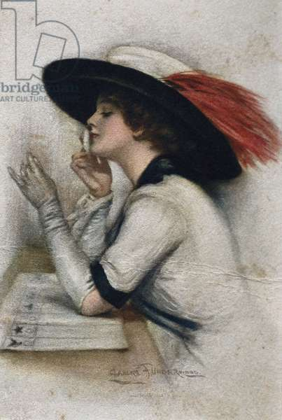 An elegant young woman voting in the 1920 elections in the United States, 20th century (colour litho)