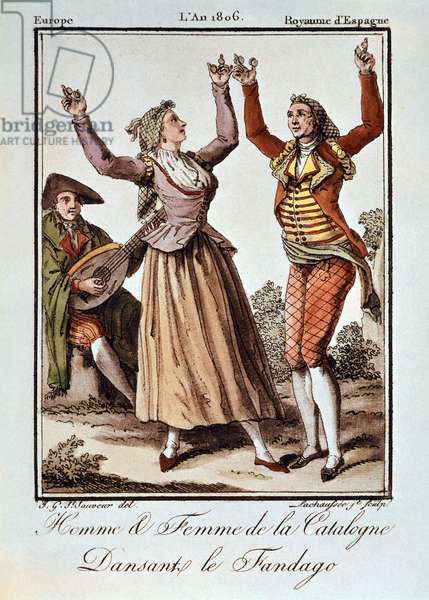Man and woman from Catalonia dancing the Fandango, Europe, Kingdom of Spain, 1806. Color engraving.