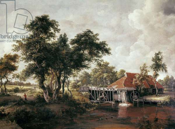 Water mill with large red roof. Painting by Meindert HOBBEMA, (1638-1709), 1662 - 1665 Oil on canvas Chicago, Art Institute of Chicago.