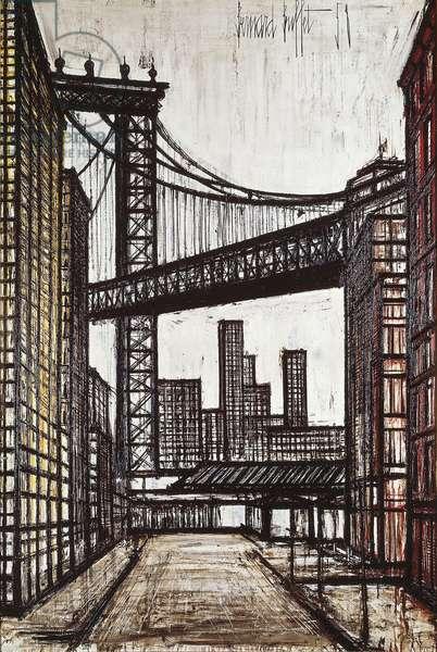 New York Buildings and Brooklyn Bridge, 1958 (oil on canvas)
