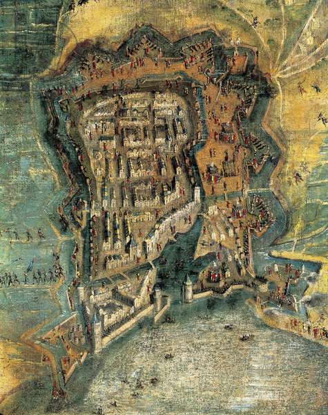 Siege of la Rochelle, 17th century painting after Jacques Caillot