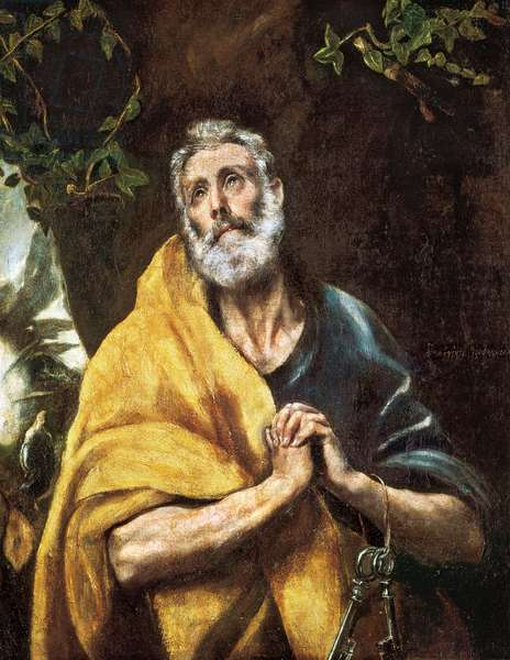 """""""The Tears of Saint Peter"""" (The Tears of Saint Peter), ca. 1594-1604 - Oil on canvas (Sun: 110x88 cm) by Domenikos (Dominica) Theotokopoulos, dit Le Greco (1541-1614), House and Museum of El Greco, Toledo ©Rotger/Aisa/Leemage"""