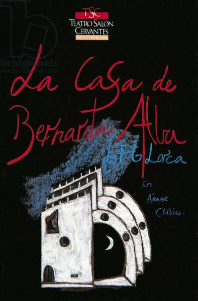 """Poster for a representation of the piece """""""" La casa de Bernarda Alba """""""" by the Spanish poet and playwright Federico Garcia Lorca (1898-1936). Alcala de Henares (Madrid) 1989"""