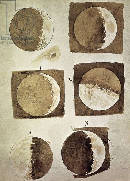 Sidereus Nuncius (Starry Messenger) with drawings of phases and surface of Moon, 1610 (pen & ink on paper) by Galileo Galilei (Galilee), Gal. 48, 1609