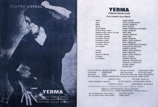 "Poster for the piece """" Yerma """" by Federico Garcia Lorca (1898-1936) directed by Victor Garcia at Astral teatro in Buenos Aires, Argentina. Fundacion Federico Garcia Lorca. Madrid."