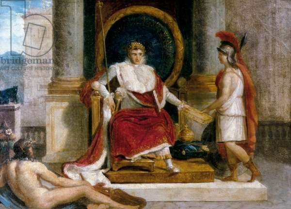 Napoleon I Bonaparte, French emperor (1769-1821) introduced in Rome in 1806 the Code of Laws (painting)