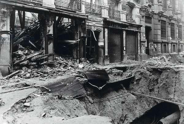 View of bombed San Jeronimo street, Madrid, c. 1936-39 (b/w photo)