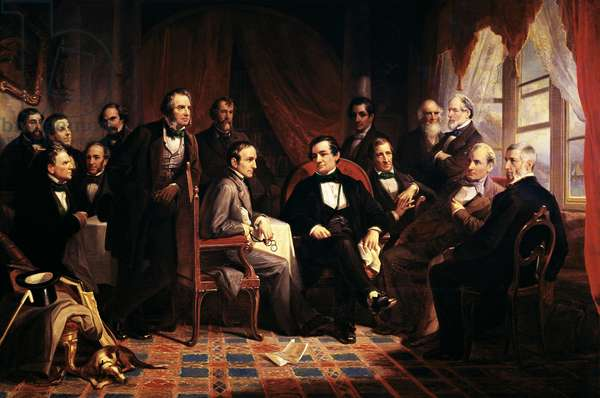 """Washington Irving (1783-1859), American writer and diplomat, receives his intellectual friends in Sunnyside near New York"""" From left to right, Henry T. Tuckerman (1813-1871), Oliver Wendell Holmes (1809-1894), William Gilmore Simms (1806-1870), Fitz-Greene Halleck (Fitz Greene Halleck) (1790-1867), Nathaniel Hawthorne (1804-1864), Henry Wadsworth Longfellow (1807-1882), Nathaniel Parker Willis (1806-1867), William H. Prescott (1796-1859), Irving, James Kirke Paulding (1778-1860), Ralph Waldo Emerson (1803-1882), William Cullen Bryant (1794-1878), John Pendleton Kennedy (1795-1870), James Fenimore Cooper (1789-1851), and George Bancroft (1800-1891). Painting by Christian Schussele (1824-1879) 1864 Washington. National Gallery of Art (Smithsonian Institution)."""
