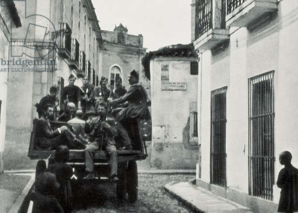 Those condemned to death by Republican army are transported to the execution place in the surroundings of Merida, August 1936 (b/w photo)