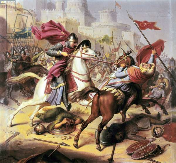 """fFirst crusade: """"""""Robert II duke of Normandy called Robert Courteheuse fighting a muslim soldier during the siege of Antioche in 1098 - 1838"""