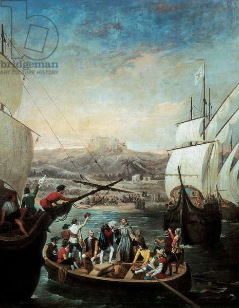 Departure of the three caravels of Christopher Columbus