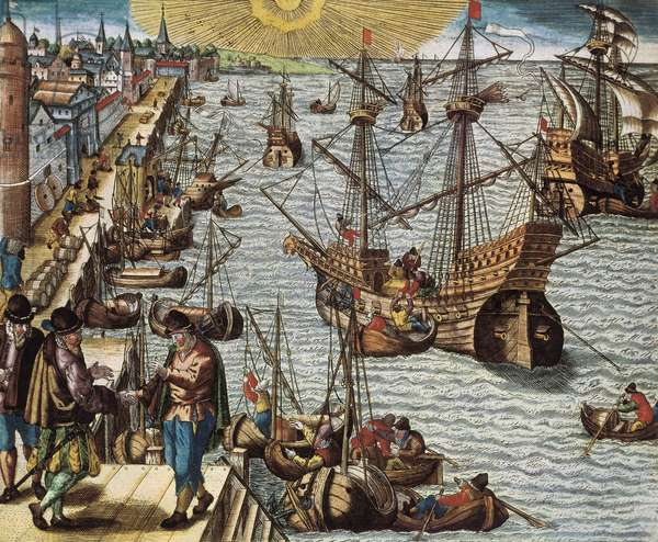 Maritime trade and trade with the Spanish Indes (colony), in particular the holding of Sugar Cane. Departure from the port of Lisbon to the East Indies, America and Brazil, 16th century (engraving)
