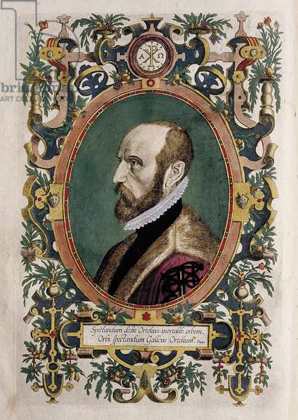Portrait of the cartographer Abraham Ortelius (colour engraving)