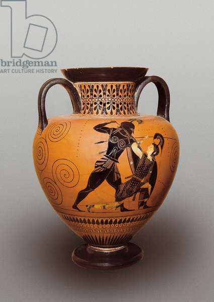 Exekias (wine amphora) with black figures representing Achilles killing the Amazonian queen Penthesilee (540-530 BC)