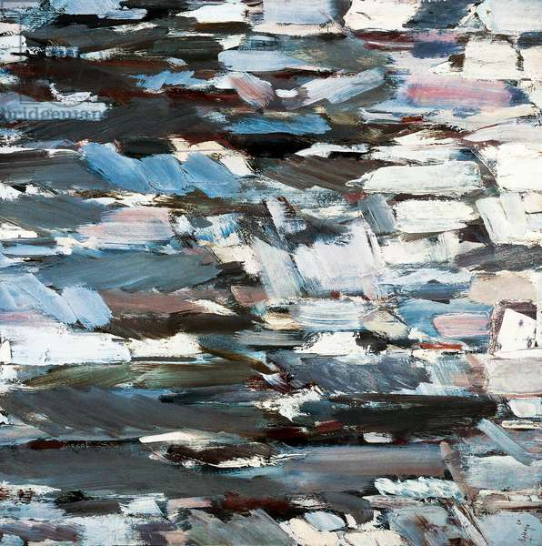 Landscape with poplar, detail of brush strokes, 1960 (oil on canvas)