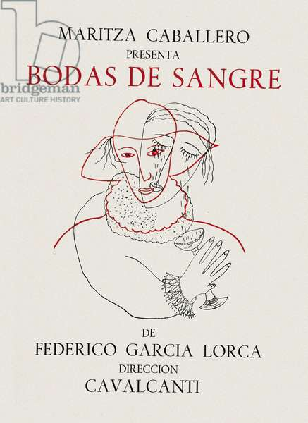 "Presentation poster of the piece ""Bodas de sangre"" (Wedding of Blood) by the Spanish poet and playwright Federico Garcia Lorca (1898-1936) performed by the troupe Maritza Caballero and staged by Cavalcanti. 1963 (engraving)"