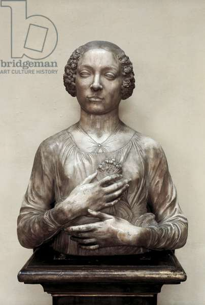 """""""The lady with the little bouquet"""", marble sculpture by Andrea del Verrocchio, 1475-80"""