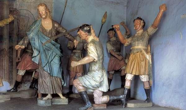 The arrest of Jesus Christ, Santuario do Bom Jesus de Matosinhos, Congonhas, Brazil, 1799 (wood sculpture)
