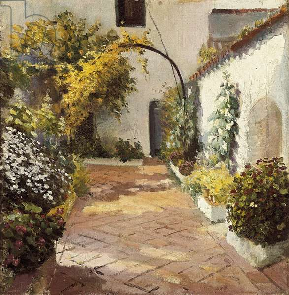 Patio de monjas (Convent courtyard). Painting made in Marmolejo in the province of Jaen in Spain. Oil on canvas by Felipe Abarzuza (1871-1948), first half of the 20th century. Provincial Museum of Cadiz (Cadiz).