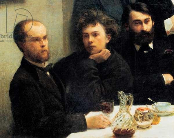 Table corner: from left to right: Paul Verlaine, Arthur Rimbaud, Elzear Bonnier. (Painting,19th century)