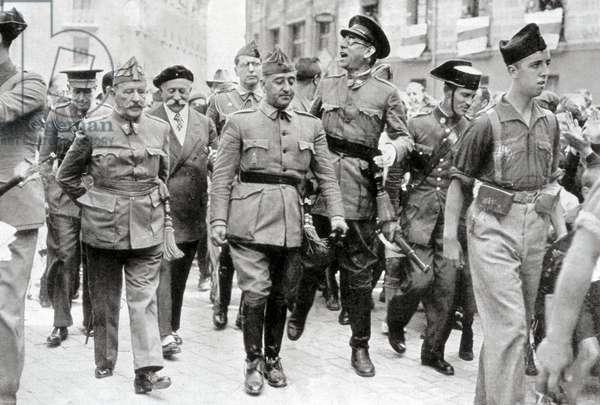 Spanish Civil War nationalist leaders: General Francisco Francisco y Bahamonde alogn the treets of Burgos, Spain, 1936 (b/w photo)