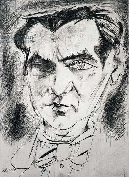 Portrait of Federico Garcia Lorca (1898-1936), Spanish poet and playwright. Drawing by Alvaro Delgado (ne in 1922). ©ADAGP (Tel: + 33 01 43 59 09 79)