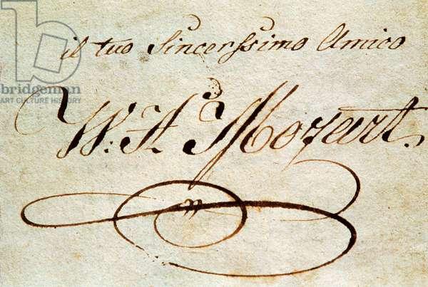 Signature of Austrian composer Wolfgang Amadeus Mozart (1756-1791)