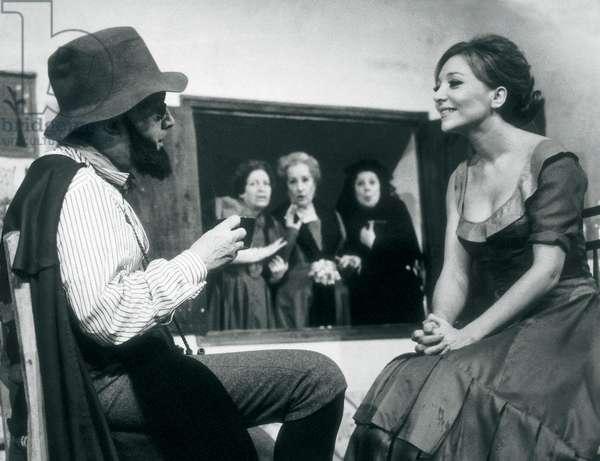 "Representation of the piece """" La zapatera prodigiosa """" (La savetiere prodigieuse) by Federico Garcia Lorca (1898-1936) performed by Amparo Soler Leal y Guillermo Marin. 1966 Fundacion Federico Garcia Lorca. Madrid."
