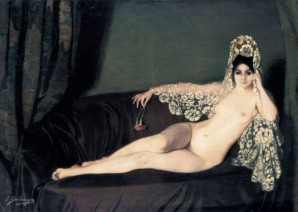 """Feminine nude"" - Portrait of the countess Anna princesse Brancoveanu (Brancovan), 1915 (oil on canvas)"