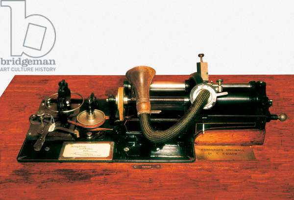 The phonograph invented by Thomas Alva Edison (1847-1931) on 12/19/1877