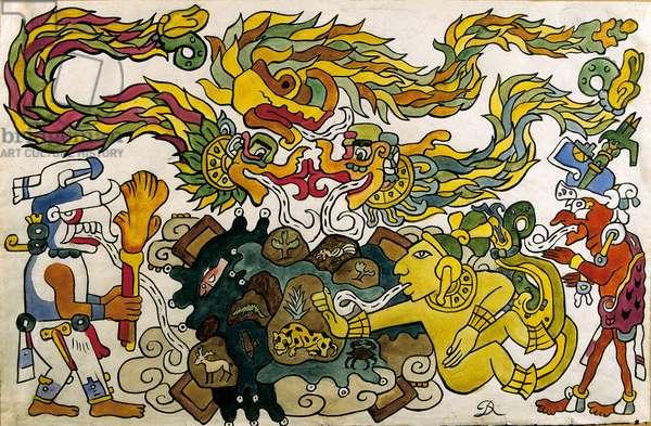 Maya mythology : The creation of Earth (painting)