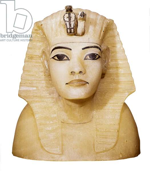 Canopic vase of Tutankhamun (1370-1352 BC) Sculpture. From QUENA. Dayr al-Bahri, Valley of Kings, Tomb of Tutankhamun Cairo, Egyptian Museum of Cairo.