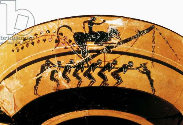 Archaic Greek art: phallic procession. Detail of the decor of a dish (ceramic)