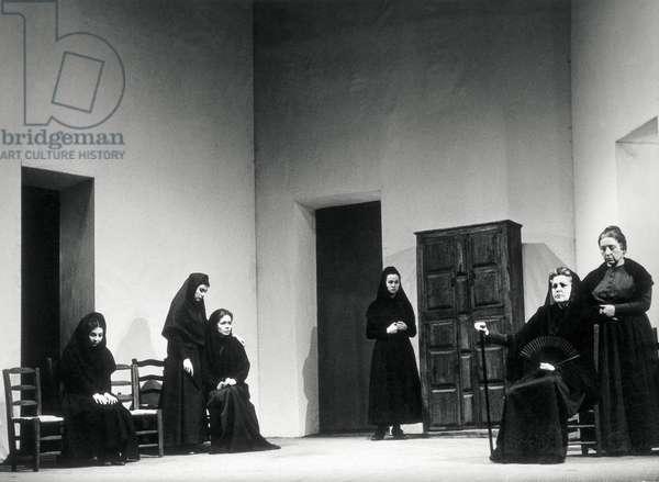 "Performance of ""La casa de Bernarda Alba"" (The house of Bernarda Alba) by Federico Garcia Lorca (1898-1936), performed by Candida Losada, Maria Basso and Julieta Serrano at the Teatro Goya in Madrid, 1964 (b/w photo)"