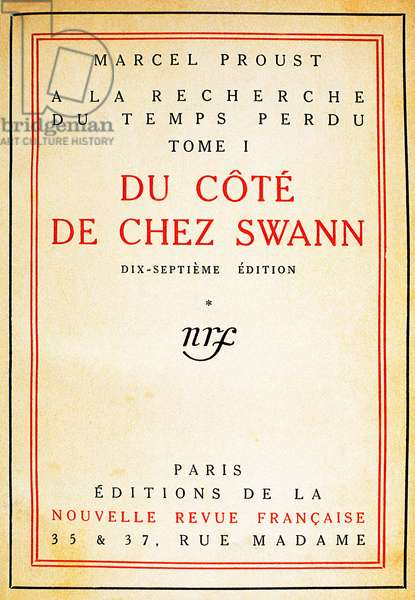 """Cover of the novel """""""" Du Cote du Chez Swann """""""" (Volume I) by Marcel Proust (1871-1922), edition of 1919. National Library of Catalonia, Spain."""